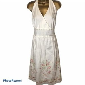 APNY white halter top dress floral embroidery